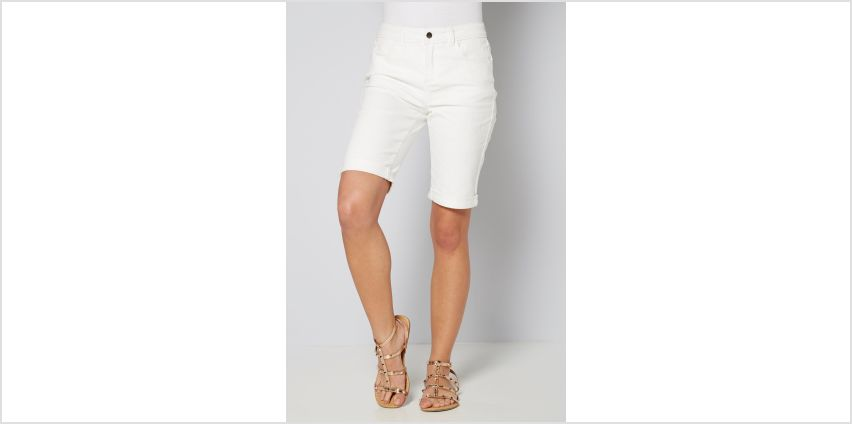 Longline Denim Turn Up White Shorts from Studio