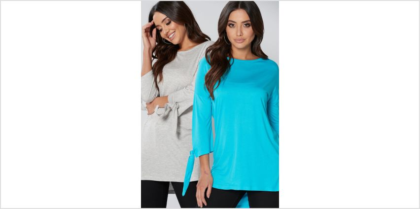 Pack of 2 ¾ Tab Sleeve Tops from Studio
