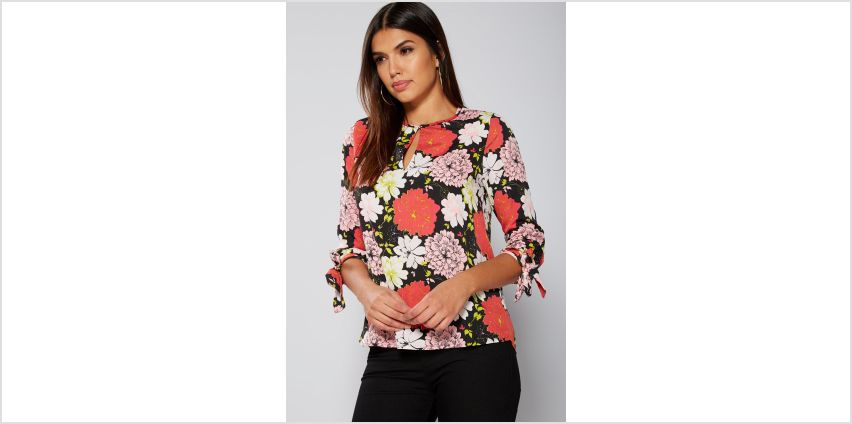Black Floral Printed Tie Sleeve Top from Studio