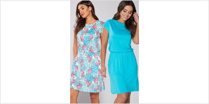 Pack of 2 Flamingo Blue Jersey T-Shirt Dresses from Studio