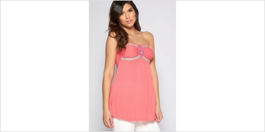 Beaded Strapless Tape Top from Studio