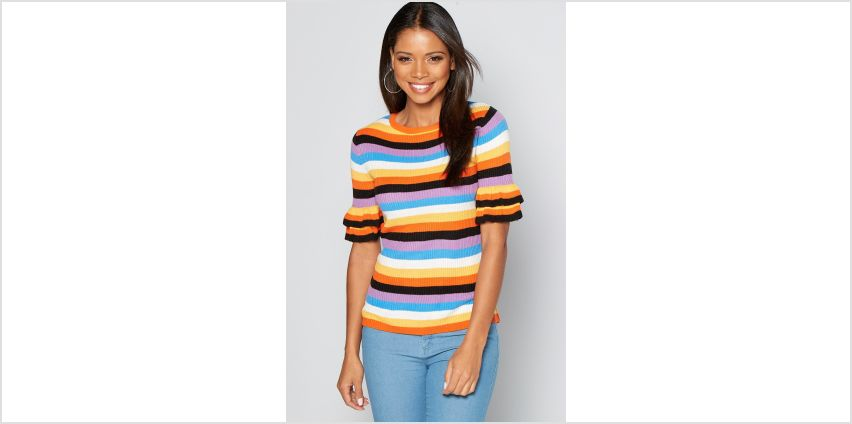 Rainbow Brights Stripe Frill Sleeve Ribbed Jumper from Studio