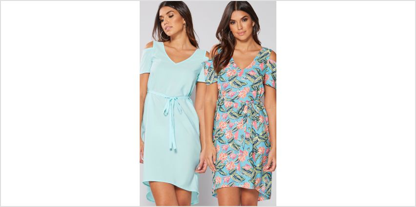 Pack of 2 Coral Floral Cold Shoulder Belted Dresses from Studio
