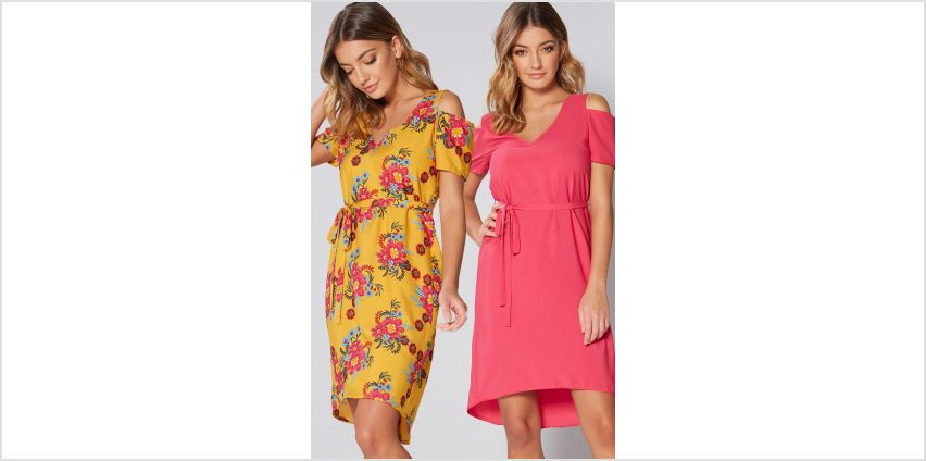 Pack of 2 Floral Yellow Cold Shoulder Belted Dresses from Studio