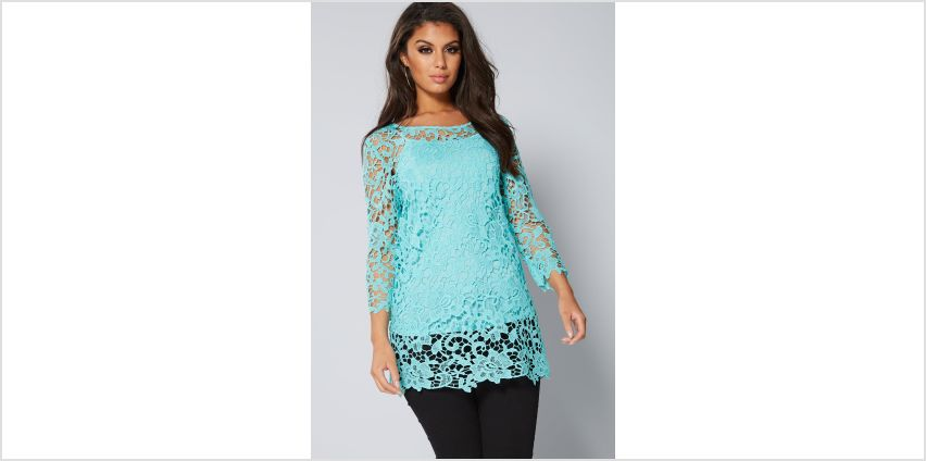 ¾ Sleeve Crochet Lace Top from Studio