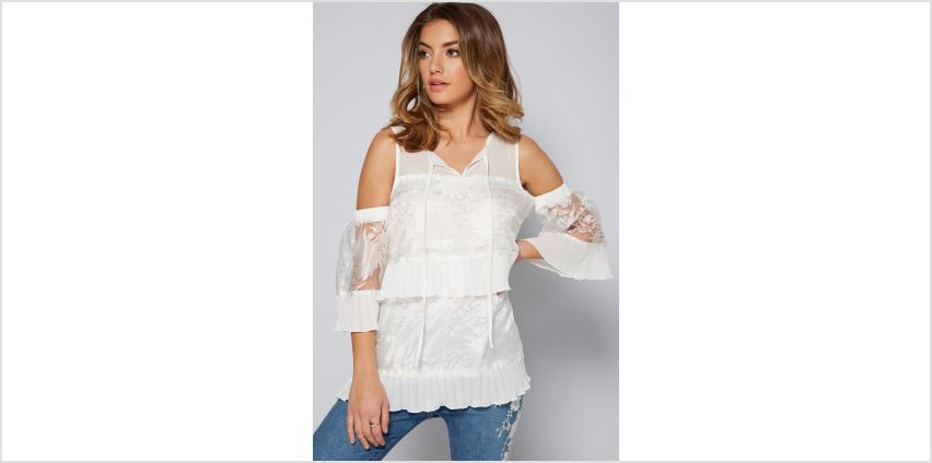 Burnout Cold Shoulder Tie Front Top from Studio