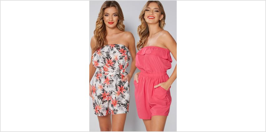 Pack of 2 Bandeau Frill Tropical Bloom Playsuits from Studio