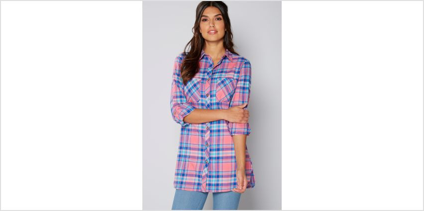 Long Sleeve Pink and Blue Check Shirt from Studio
