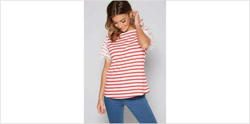 Crochet Lace Sleeve Stripe T-Shirt from Studio