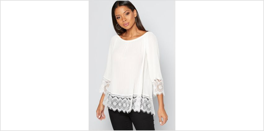 Pleated Lace Trim Top from Studio