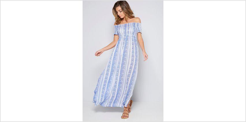 Bardot Linear Blue Shirred Detail Maxi Dress from Studio