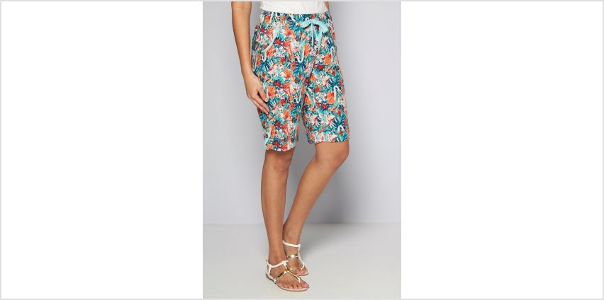 Knee Length Coral Floral Print Poplin Shorts from Studio