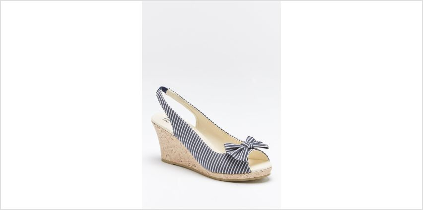 Navy Stripe Peep Toe Wedge Shoes from Studio