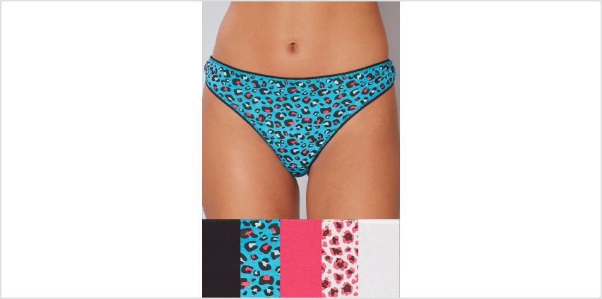 Pack of 5 Wild Print Cotton Thongs from Studio