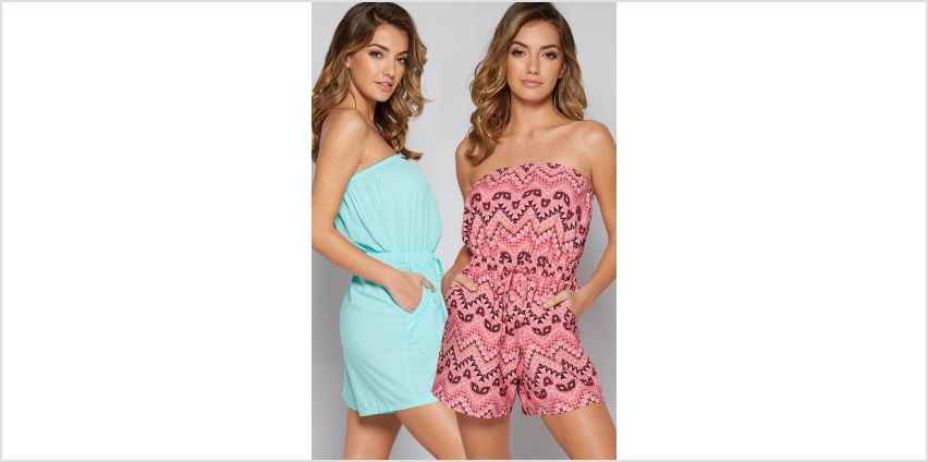 Pack of 2 Aztec Print Bandeau Playsuits from Studio