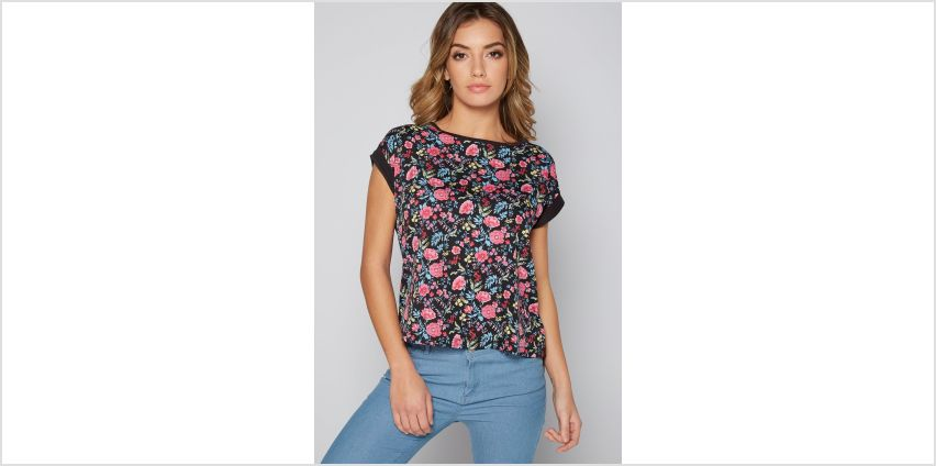 Floral Print Woven Front Jersey Back Top from Studio