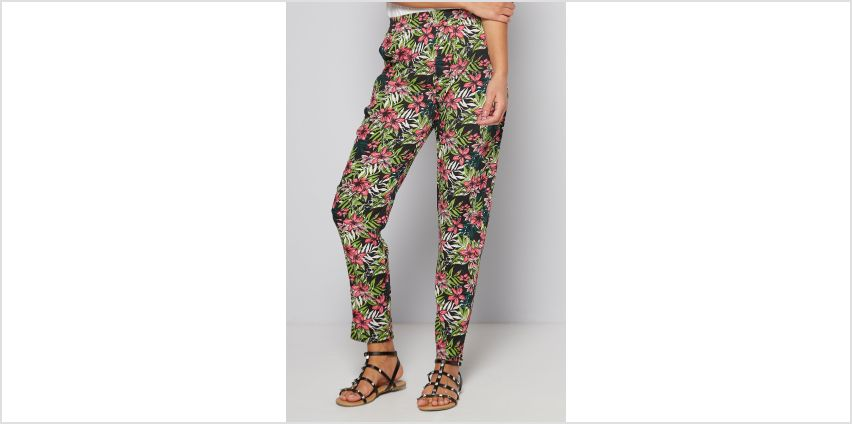 Black and Pink Floral Printed Woven Trousers from Studio