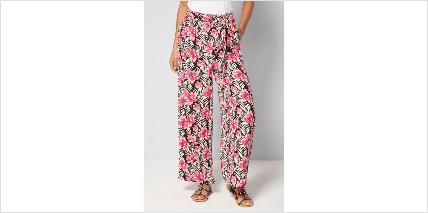 Printed Pink Floral Woven Wide Leg Trousers from Studio