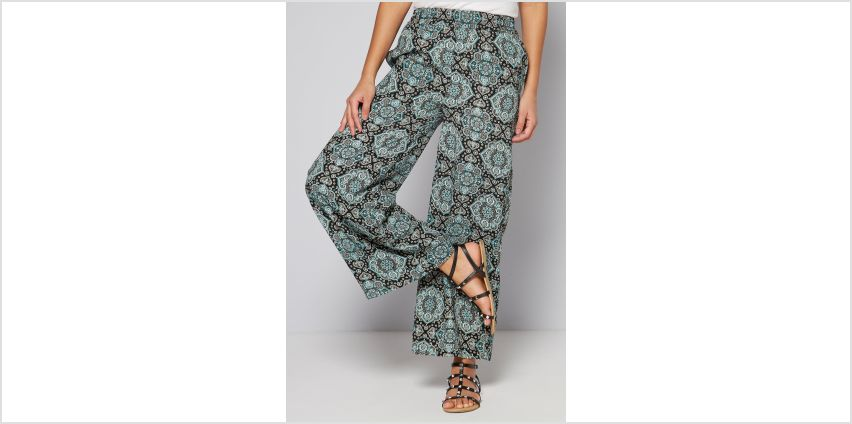 Printed Woven Blue Paisley Wide Leg Trousers from Studio