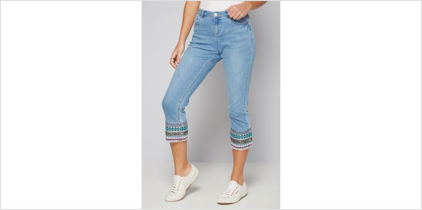 Aztec Hem Detail Cropped Jeans from Studio