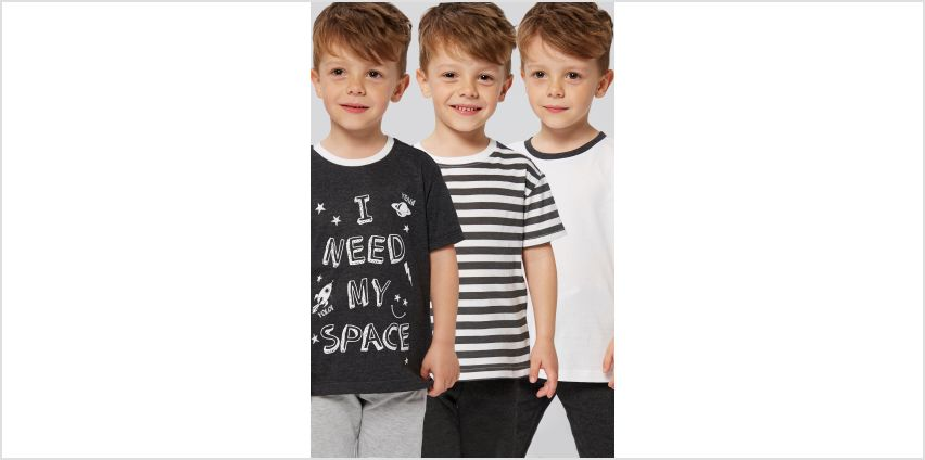 Younger Boys Pack of 3 Slogan and Stripe T-Shirts from Studio