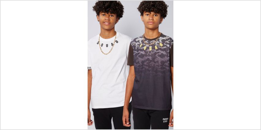 Older Boys Pack of 2 Squad Camo and White T-Shirts from Studio