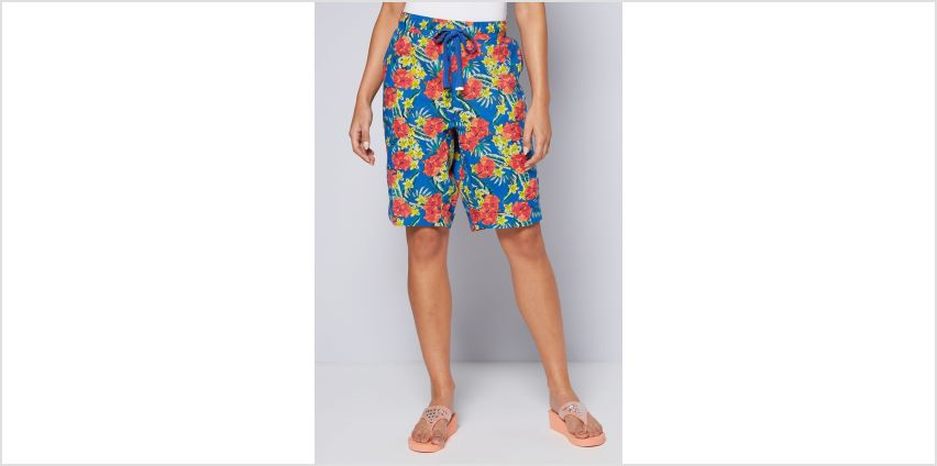 Knee Length Hibiscus Print Poplin Shorts from Studio