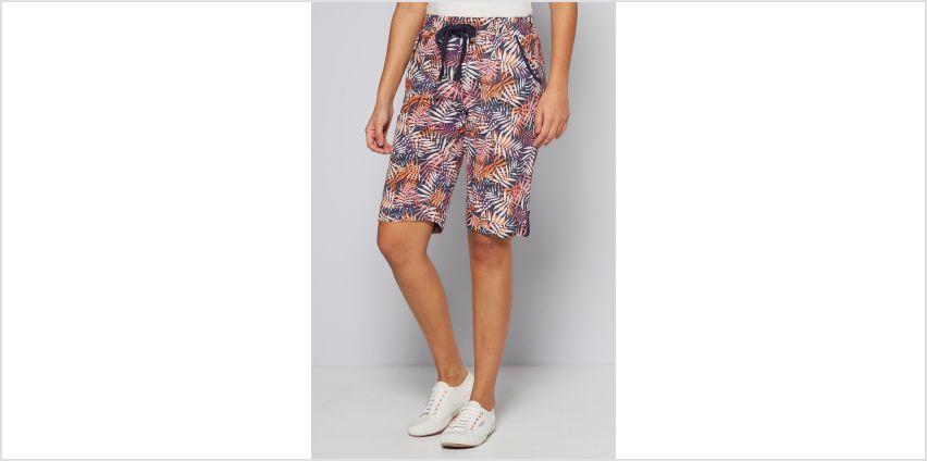 Knee Length Palm Print Cotton Poplin Shorts from Studio