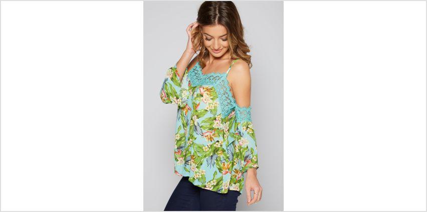 Aqua Floral Cold Shoulder Crochet Printed Top from Studio