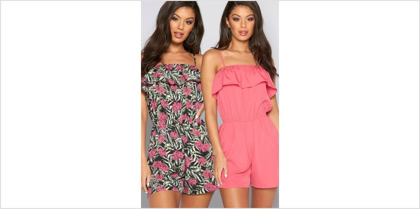 Pack of 2 Pink + Palm Print Bardot Frill Playsuits from Studio