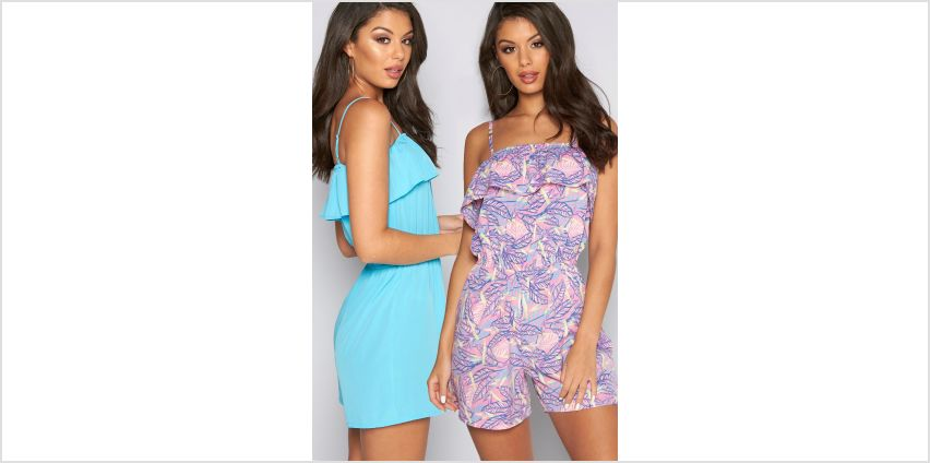 Pack of 2 Pastels Feather Print Bardot Frill Playsuits from Studio