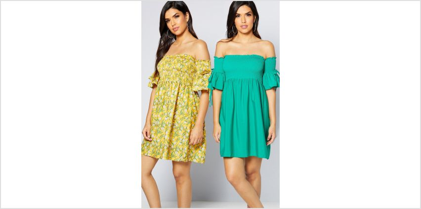 Pack of 2 Yellow Floral Print Shirred Flute Sleeve Dresses from Studio