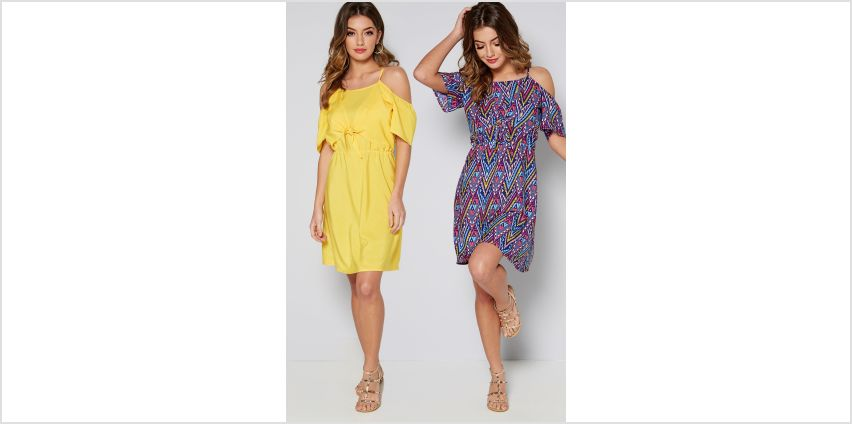 Pack of 2 Yellow + Aztec Print Cold Shoulder Dresses from Studio