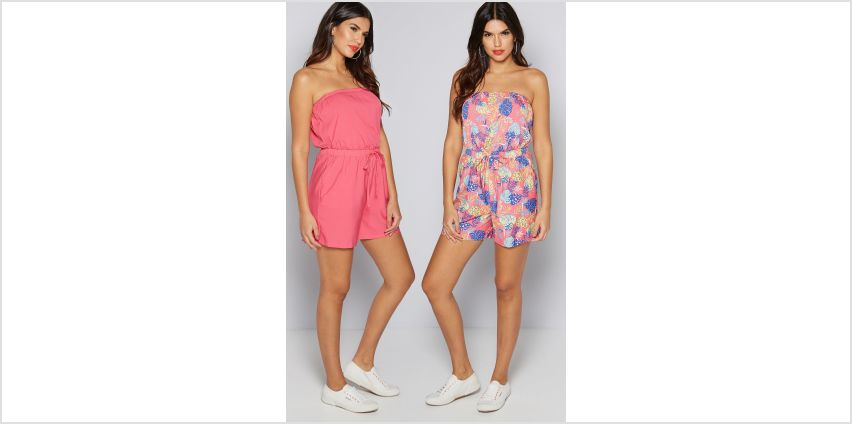 Pack of 2 Pink + Leaf Print Bandeau Playsuits from Studio