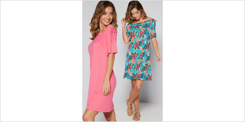 Pack of 2 Tropical Print Jersey Bardot Dresses from Studio