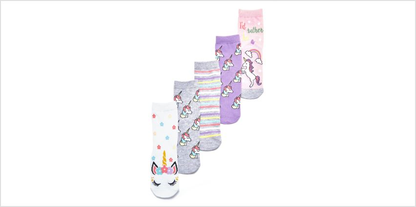 Girls Pack of 5 Unicorn Socks from Studio