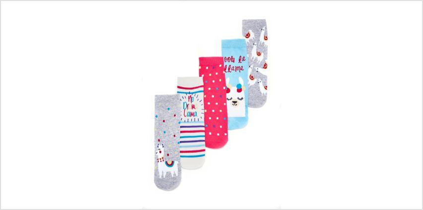 Girls Pack of 5 Llama Socks from Studio