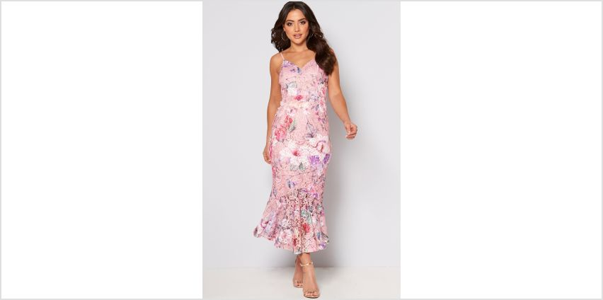Floral Printed Lace Fishtail Dress from Studio