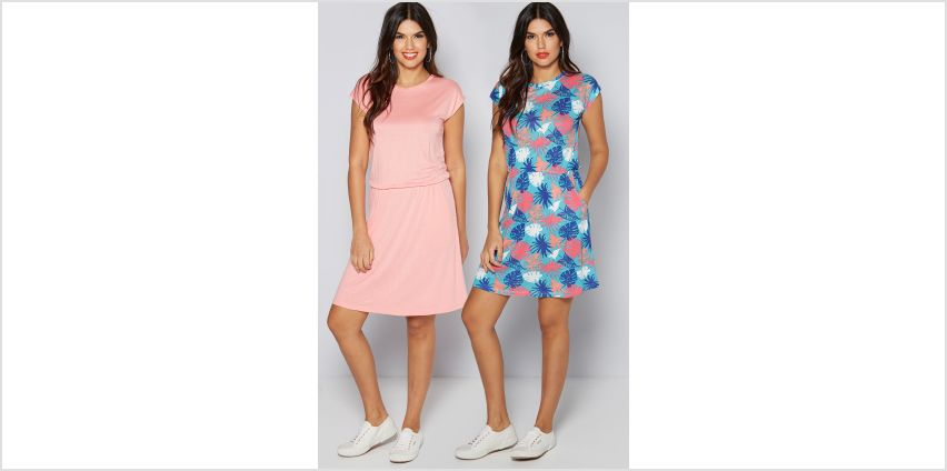 Pack of 2 Aqua Floral + Coral Dresses from Studio
