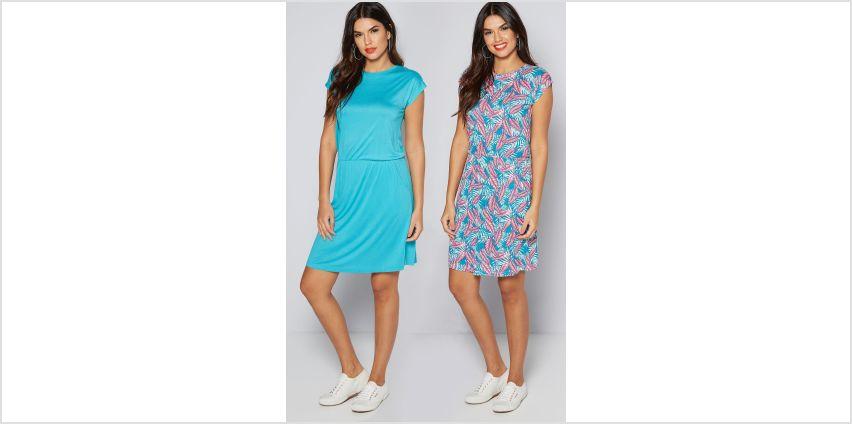 Pack of 2 Aqua + Pink Leaf Print Dresses from Studio