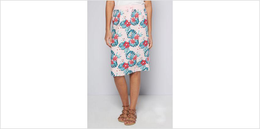 Hawaiian Pink Flower Linen Skirt from Studio