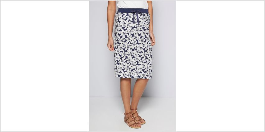 Hawaiian Navy Flower Linen Skirt from Studio