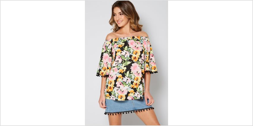 Floral Bardot Top with Pom Pom Detail from Studio