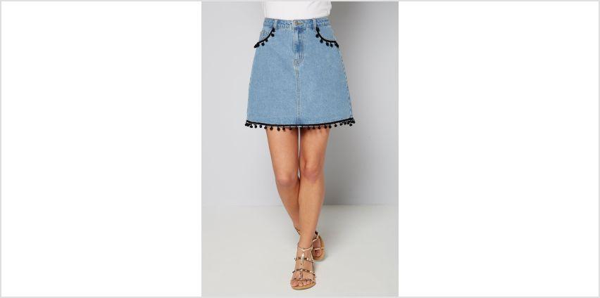 Pom Pom Trim Denim Skirt from Studio