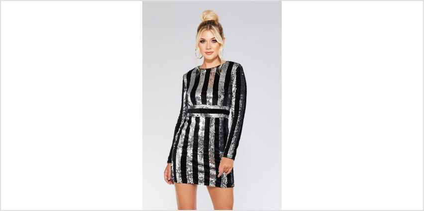 Quiz Black and Silver Sequin Bodycon Dress from Studio