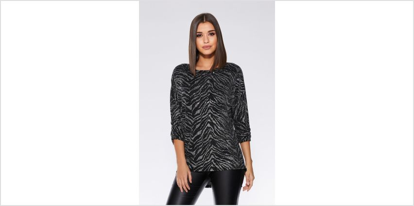 Quiz Batwing Black/Silver Top from Studio
