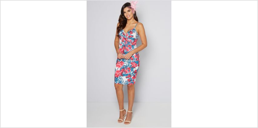White Floral Wrap Dress with Fascinator from Studio