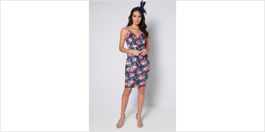 Polka Floral Wrap Dress with Fascinator from Studio