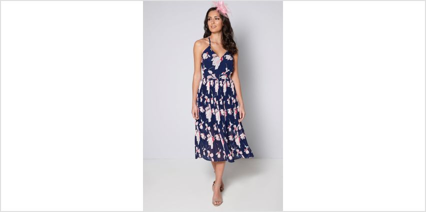 Navy Floral Midi Dress with Fascinator from Studio