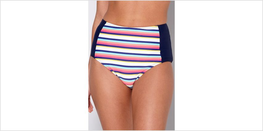 High Waist Stripe Panel Bikini Bottoms from Studio